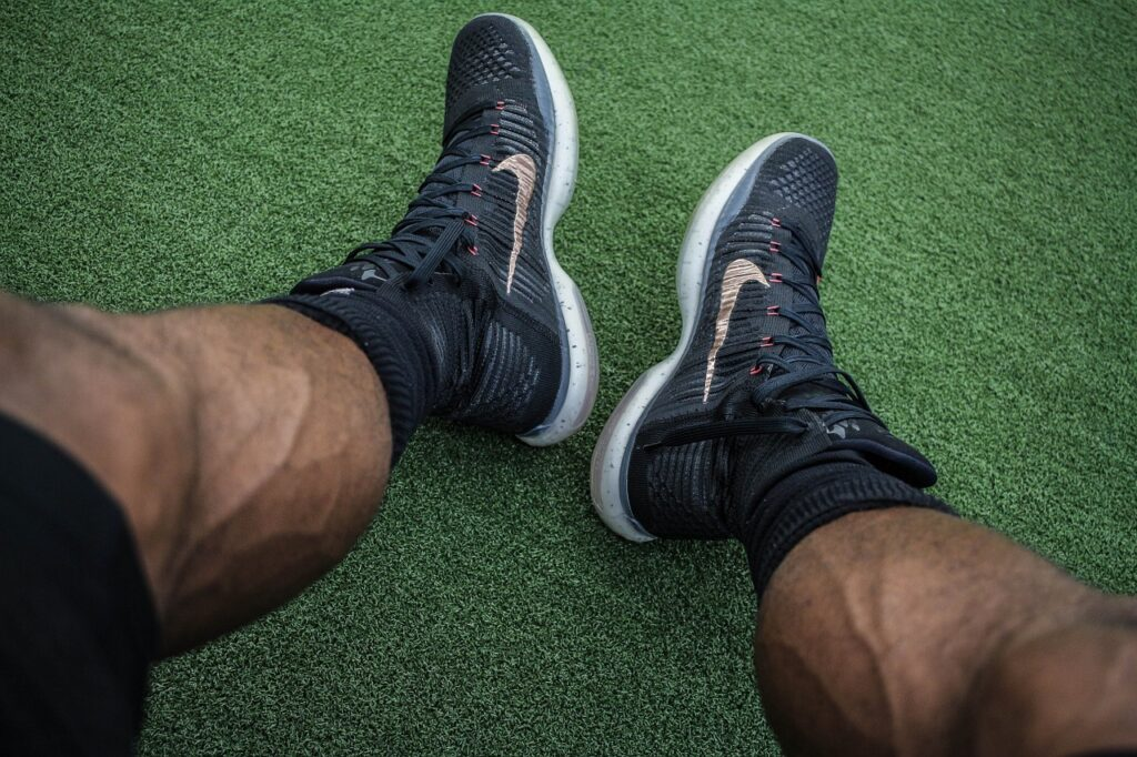 athlete, muscles, shoes