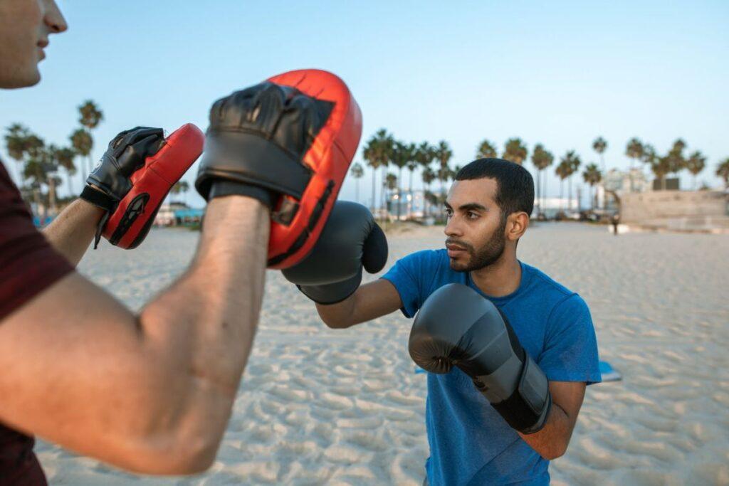 Boxing Training Beach Man