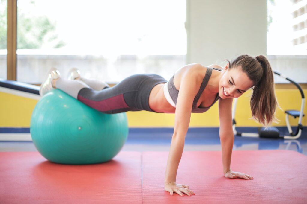girl stability ball gym