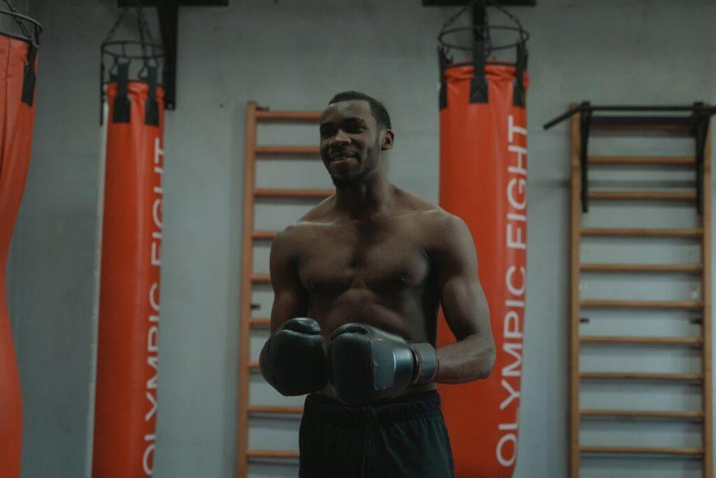 Man Training Boxing Gloves