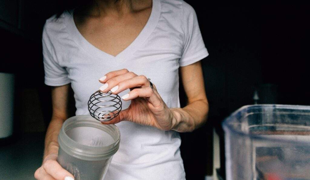 woman protein shake